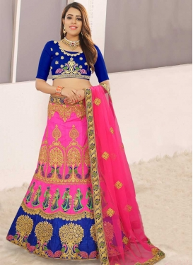 Art Silk Navy Blue and Rose Pink A Line Lehenga Choli
