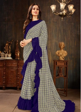 Art Silk Navy Blue and Silver Color Classic Designer Saree