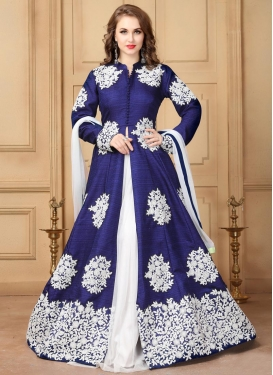 Art Silk Navy Blue and White Designer Kameez Style Lehenga