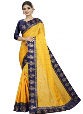 Art Silk Navy Blue and Yellow Lace Work Designer Traditional Saree