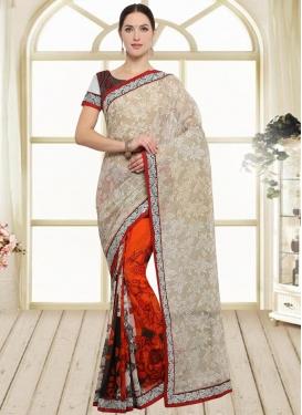 Art Silk Off White and Orange Half N Half Trendy Saree