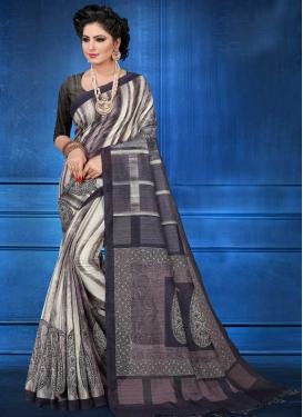 Art Silk Off White and Violet Designer Traditional Saree