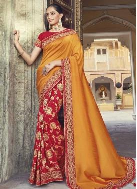 Art Silk Orange and Red Half N Half Saree