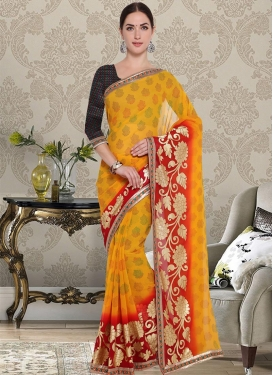 Art Silk Orange and Red Lace Work Contemporary Style Saree