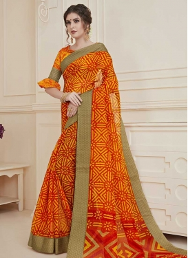 Art Silk Orange and Red Print Work Traditional Saree