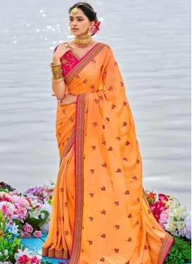 Art Silk Orange and Rose Pink Contemporary Saree