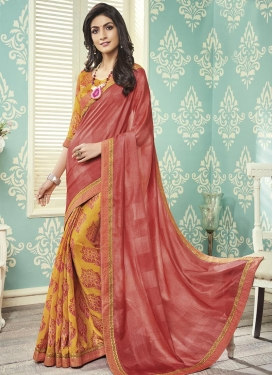 Art Silk Orange and Salmon Lace Work Half N Half Saree