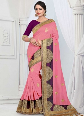 Art Silk Pink and Purple Embroidered Work Trendy Saree