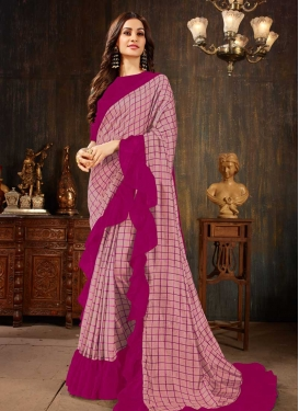 Art Silk Pink and Rose Pink Designer Contemporary Style Saree