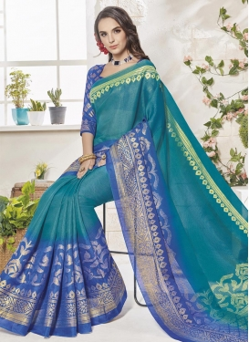 Art Silk Print Work Blue and Teal Traditional Saree