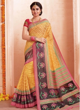Art Silk Print Work Brown and Mustard Trendy Saree