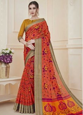 Art Silk Print Work Classic Saree