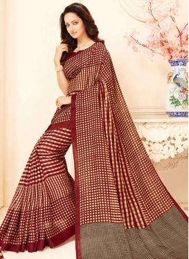 Art Silk Print Work Contemporary Saree