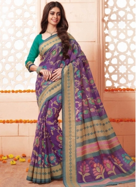 Art Silk Print Work Contemporary Style Saree