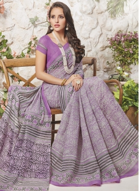Art Silk Print Work Grey and Violet Contemporary Saree