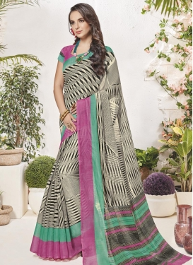 Art Silk Print Work Trendy Classic Saree