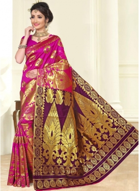 Art Silk Purple and Rose Pink Contemporary Style Saree For Festival