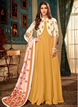 Art Silk Readymade Classic Gown For Ceremonial