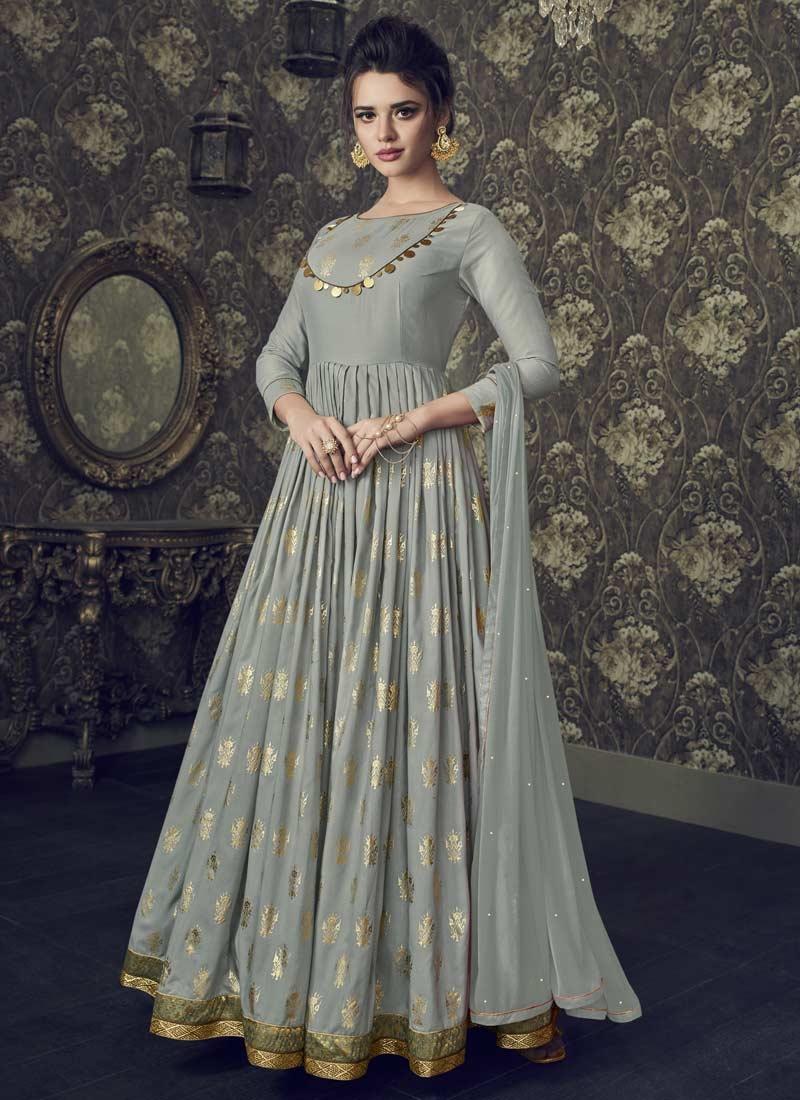 Art Silk Readymade Designer Gown For Festival