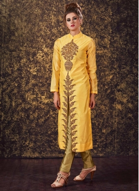 Art Silk Readymade Designer Salwar Suit For Ceremonial