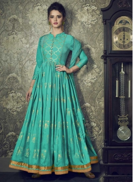 Art Silk Readymade Floor Length Gown For Festival
