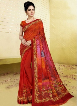 Art Silk Red and Rose Pink Digital Print Work Contemporary Saree
