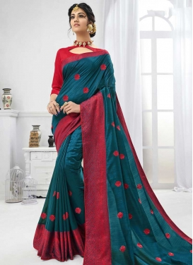 Art Silk Red and Teal Embroidered Work Classic Saree