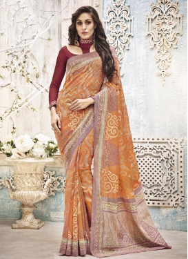 Art Silk Resham Work Beige and Orange Contemporary Saree For Festival