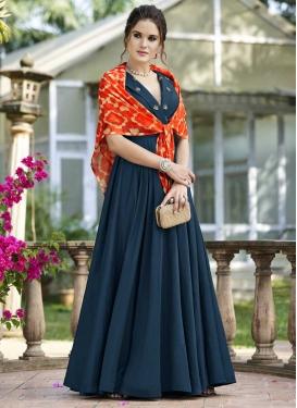 Art Silk Resham Work Long Length Trendy Suit
