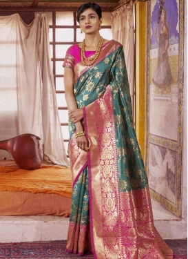Art Silk Rose Pink and Teal Classic Saree