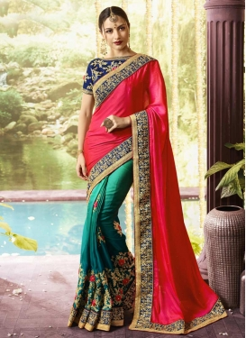 Art Silk Rose Pink and Teal Half N Half Designer Saree