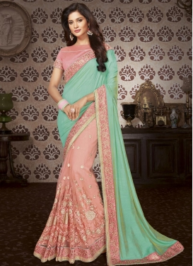 Art Silk Salmon and Turquoise Beads Work Half N Half Trendy Saree