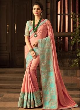 Art Silk Salmon and Turquoise Classic Designer Saree For Ceremonial