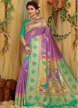 Art Silk Sea Green and Violet Designer Contemporary Saree For Ceremonial