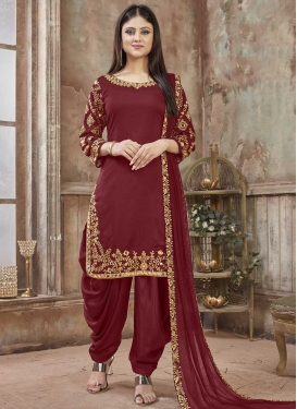 Art Silk Semi Patiala Salwar Kameez