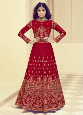 Art Silk Shamita Shetty Long Length Anarkali Salwar Suit