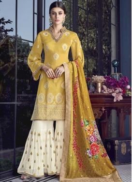 Art Silk Sharara Salwar Suit For Festival