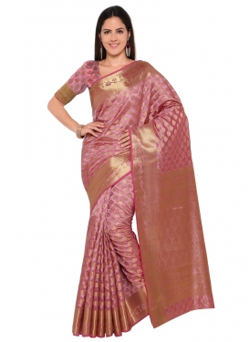 Art Silk Thread Work Contemporary Style Saree