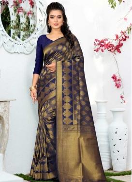 Art Silk Thread Work Contemporary Style Saree