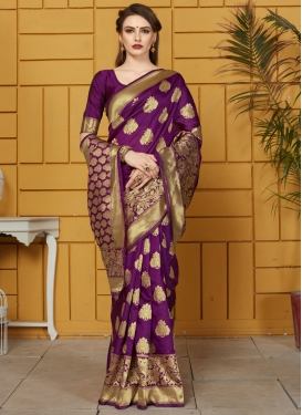 Art Silk Thread Work Designer Contemporary Saree