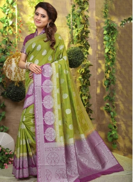 Art Silk Thread Work Olive and Violet Designer Traditional Saree