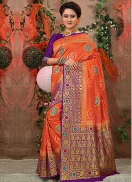 Art Silk Thread Work Orange and Purple Trendy Classic Saree