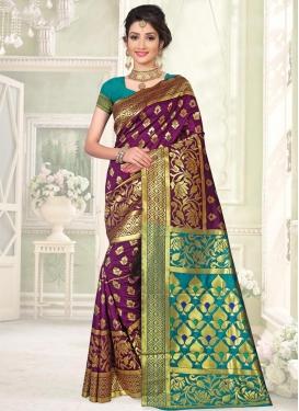Art Silk Thread Work Purple and Teal Contemporary Saree