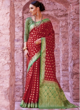 Art Silk Thread Work Trendy Saree