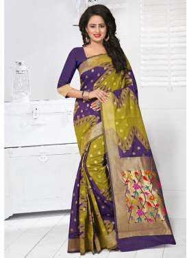 Artistic Banarasi Silk Olive and Purple Classic Saree