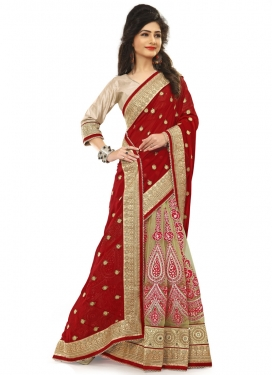 Artistic Booti And Mirror Work Half N Half Wedding Saree
