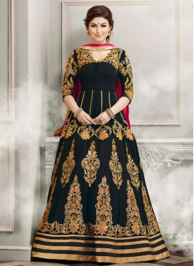 Artistic Booti Work Faux Georgette Long Length Anarkali Suit For Ceremonial