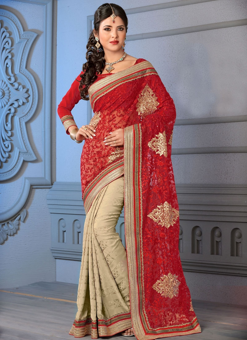Artistic Booti Work Half N Half Wedding Saree