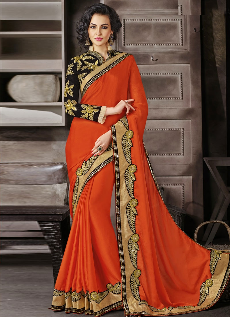 Artistic Coral Color Patch Work Wedding Saree