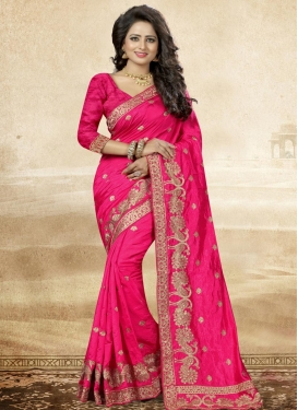 Artistic Embroidered Work  Art Silk Contemporary Saree